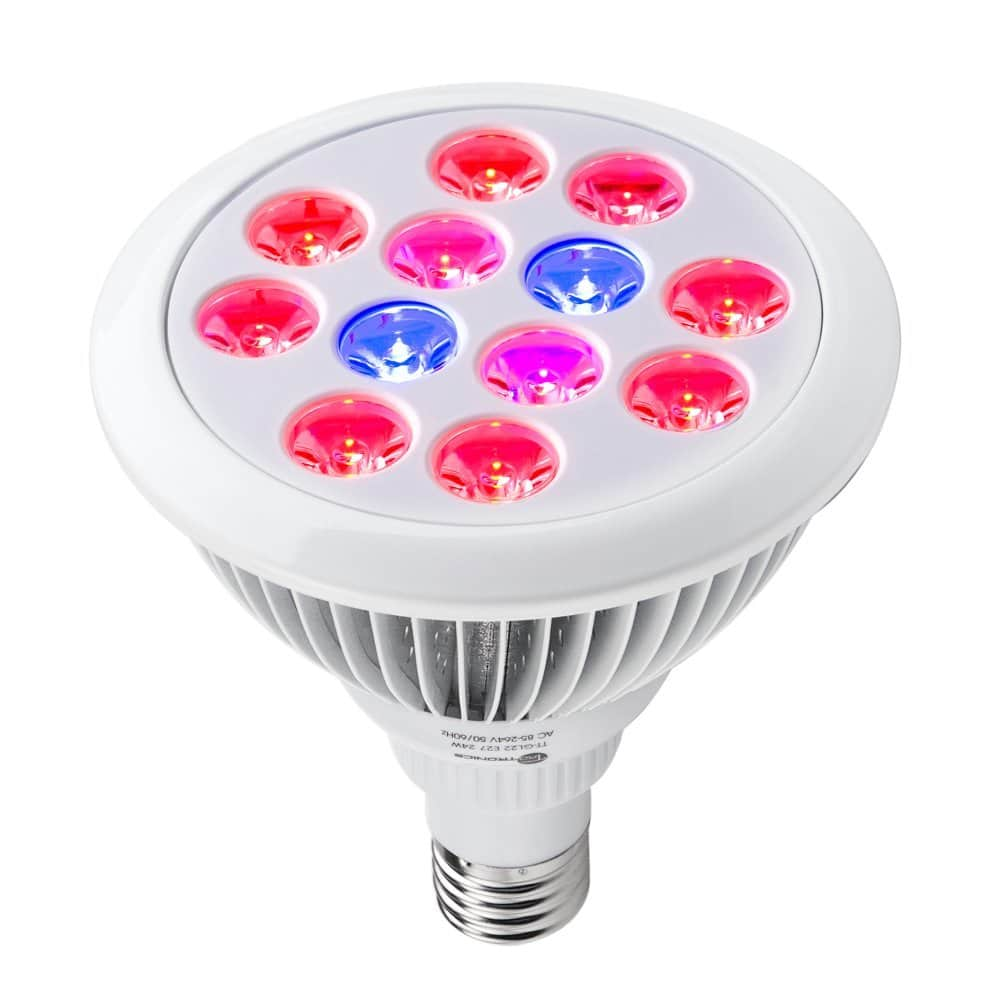 taotronics 24w led grow light bulb grow plant light for hydropoics organic mini greenhouse 3 bands
