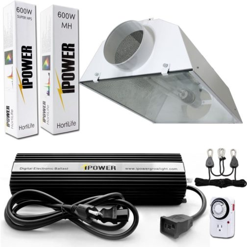 iPower 600-Watt Light Digital Dimmable System for Grow Tents - Air Cooled Hood Set Grow Lights