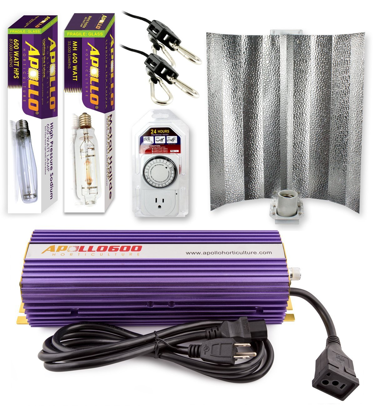 Apollo Horticulture 600 Watt Grow Light Digital Dimmable HPS MH System for Plants Gull Wing Hood Set