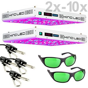 Kind K5 XL1000 LED Grow Light with Ratchet Light Hangers and Method Seven LED Glasses