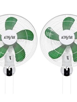 (2) HYDROFARM ACF16 Active Air 16″ Wall Mountable Oscillating Hydroponic Fans