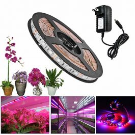 Lahoku LED Plant Grow Strip Light, SMD 5730 16.4ft 300LEDs Full Spectrum Red Blue 4:1 Growing Lamp with 12V Power Supply… Grow Tent Accessories