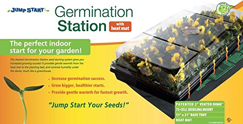 Jump Start CK64050, Germination Station w/Heat Mat, Tray, 72-Cell Pack, 2″ Dome