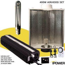 iPower HPS Digital Dimmable Grow Light System Kits Air Cooled Reflector Hood Set Grow Lights