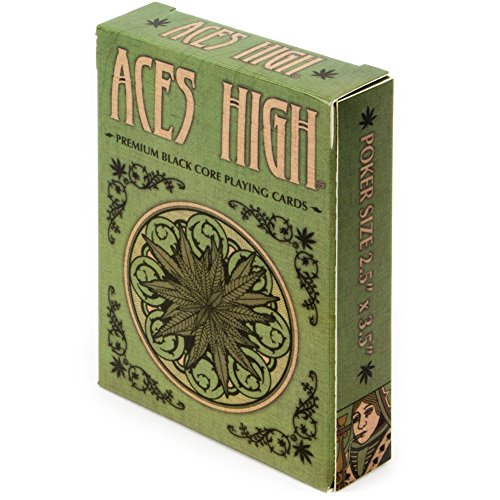 Brybelly Aces High Premium Green Playing Cards, Black Core, Plastic-Coated, Poker Wide Size, Standard Index Cannabis Games
